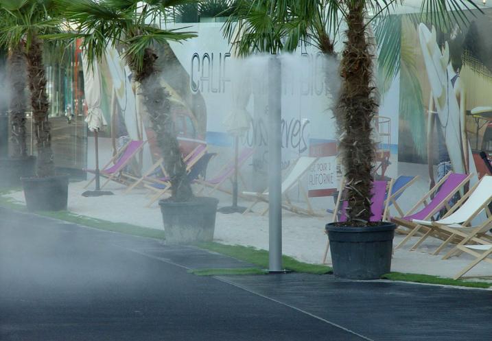 Mobilier urbains de brumisation d'espace publics, crèches, garderies d'enfants et aires d'autoroute